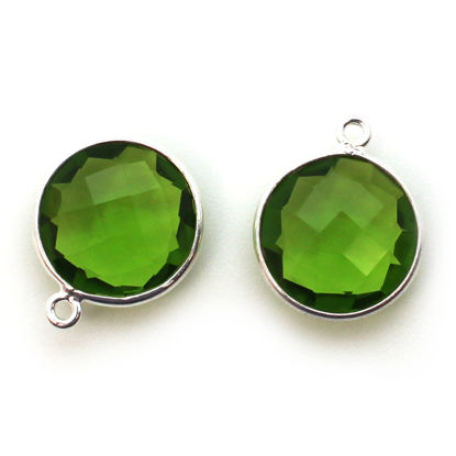 Bezel Gem Pendant - Sterling Silver - 14mm Faceted Coin - Peridot Quartz- August Birthstone (sold per 2 pieces)