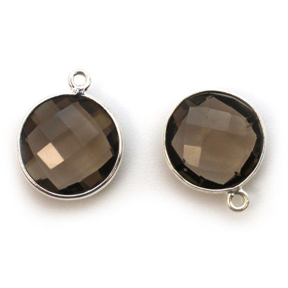 Bezel Gem Pendant - Sterling Silver - 14mm Faceted Coin - Smokey Quartz  (sold per 2 pieces)