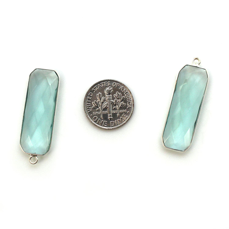 Bezel Charm Pendant-Sterling Silver Charm - Aqua Quartz-Elongated Rectangle Shape-34 by 11mm (sold per 2 pieces)