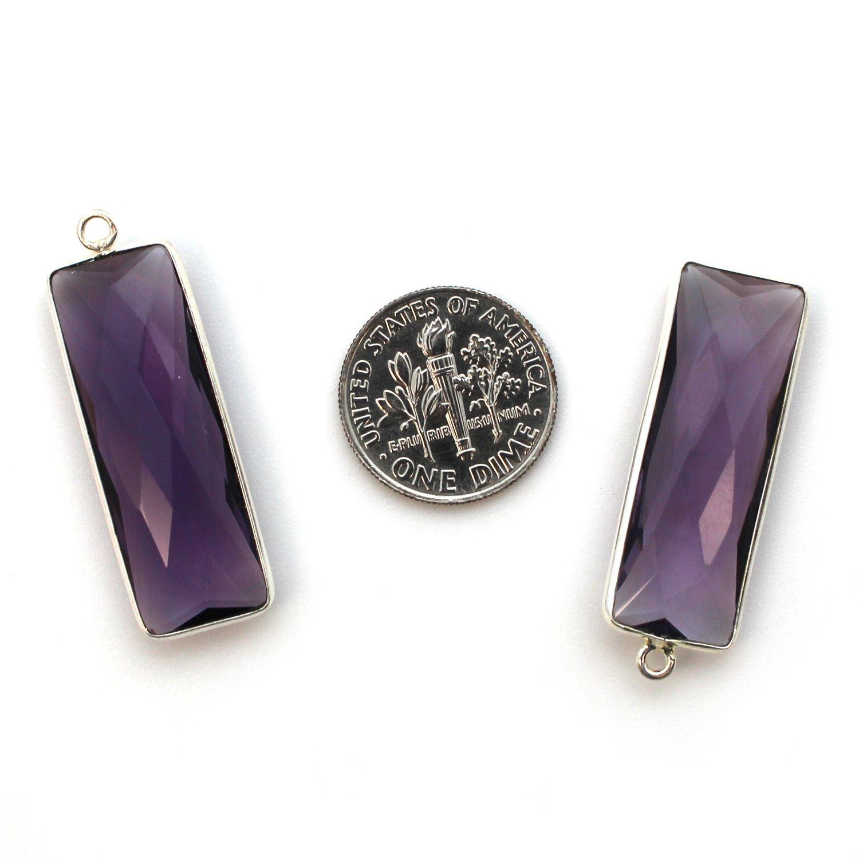 Bezel Charm Pendant-Sterling Silver Charm-Amethyst Quartz-Elongated Rectangle Shape-34 by (sold per 2 pieces)
