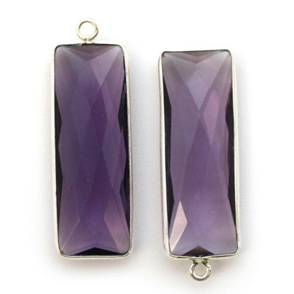 Bezel Charm Pendant-Sterling Silver Charm-Amethyst Quartz-Elongated Rectangle Shape-34 by (sold per 2 pieces)
