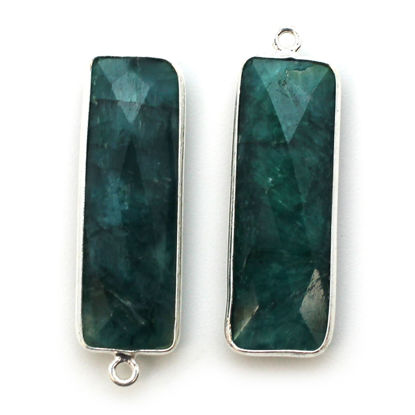 Bezel Charm Pendant-Sterling Silver Charm -Emerald Dyed-Elongated Rectangle Shape-34 by 11mm (sold per 2 pieces)