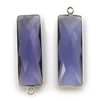 Bezel Charm Pendant-Sterling Silver Charm - Iolite Quartz-Elongated Rectangle Shape-34 by 11mm (sold per 2 pieces)