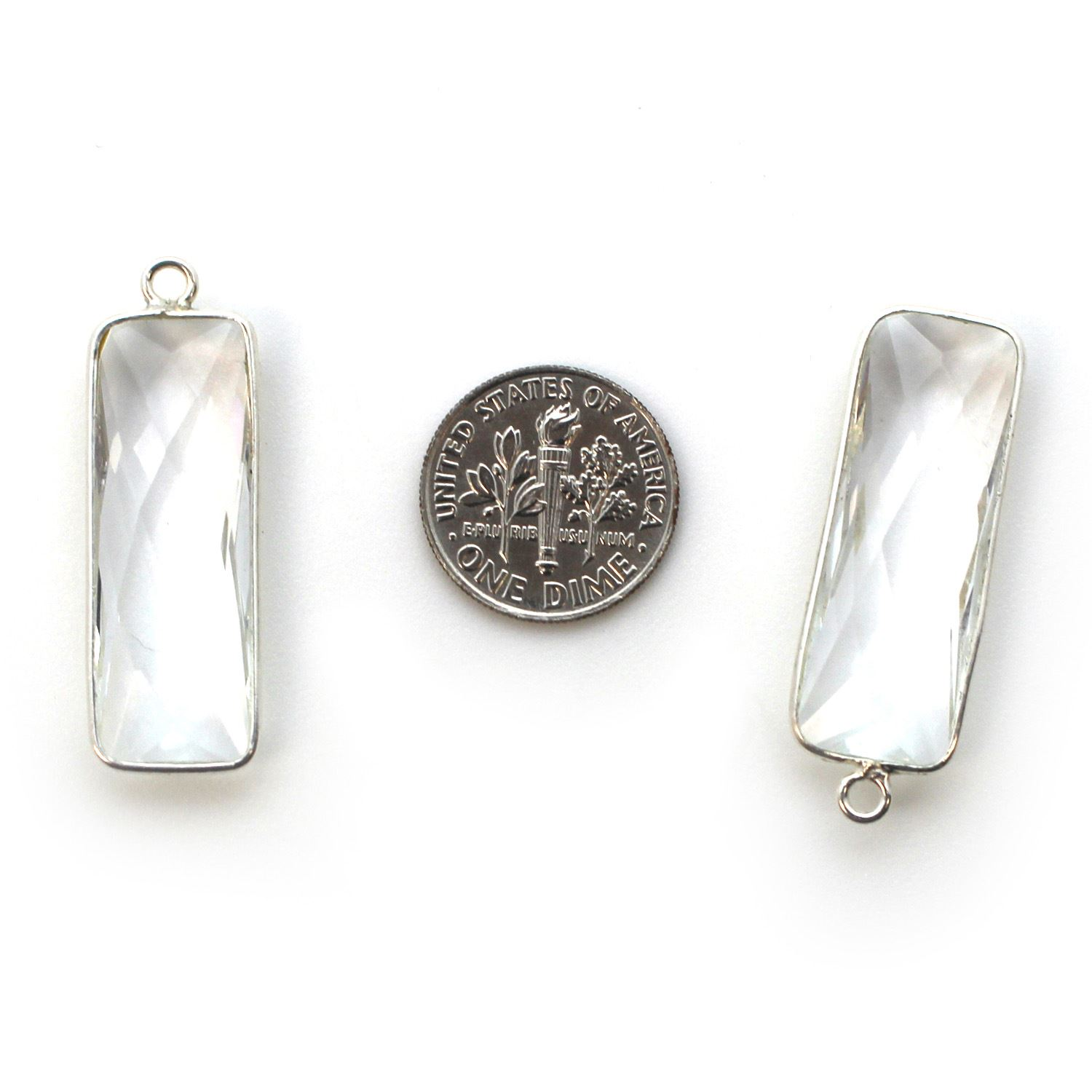 Bezel Charm Pendant -Sterling Silver Charm-Elongated Rectangle Shape- Crystal Quartz- April Birthstone -34 by 11mm (sold per 2 pieces)