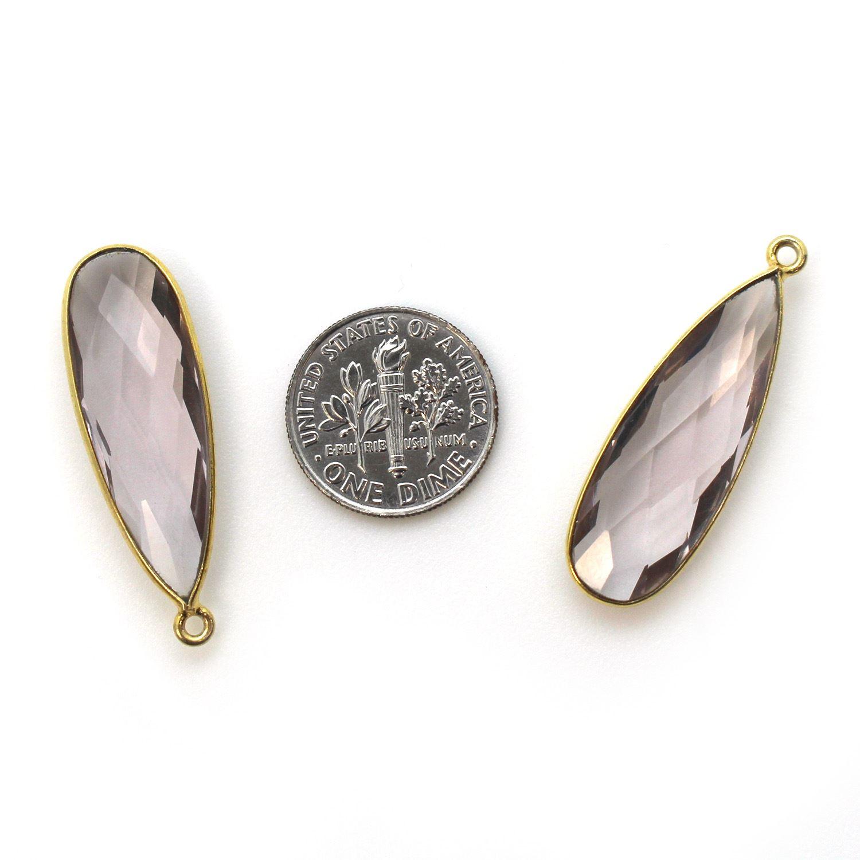 Bezel Charm Pendant -Vermeil Charm-Gold Plated-Pink Amethyst Quartz-Elongated Teardrop-34 by11mm (Sold per 2 pieces)