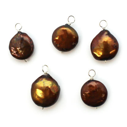 Dyed Brown Freshwater Pearl Beads-Wire Wrapped Brown Pearl Charms 12-13.5mm Coin Shape (pack of 5 pcs)