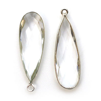 Bezel Charm Pendant - 925 Sterling Silver Charm - Elongated Teardrop Shape- Crystal Quartz - April Birthstone - 34mm by 11mm (sold per 2 pieces)