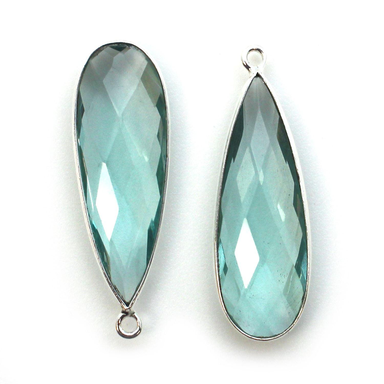 Bezel Charm Pendant -Sterling Silver Charm- Aqua Quartz-Elongated Teardrop Shape -34 by 11mm (sold per 2 pieces)