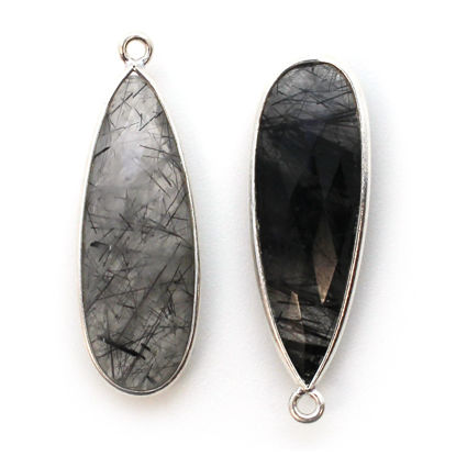 Bezel Charm Pendant -Sterling Silver Charm- Black Rutilated -Elongated Teardrop Shape -34 by 11mm (sold per 2 pieces)