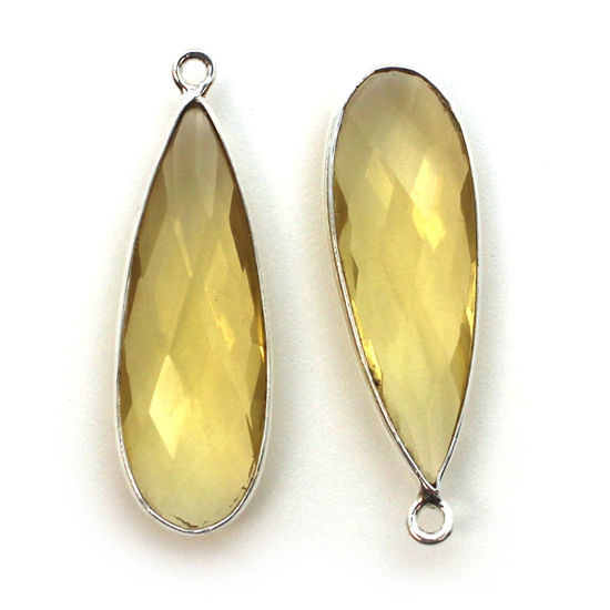 Bezel Charm Pendant -Sterling Silver Charm- Citrine Quartz -Elongated Teardrop Shape -34 by 11mm  (sold per 2 pieces)