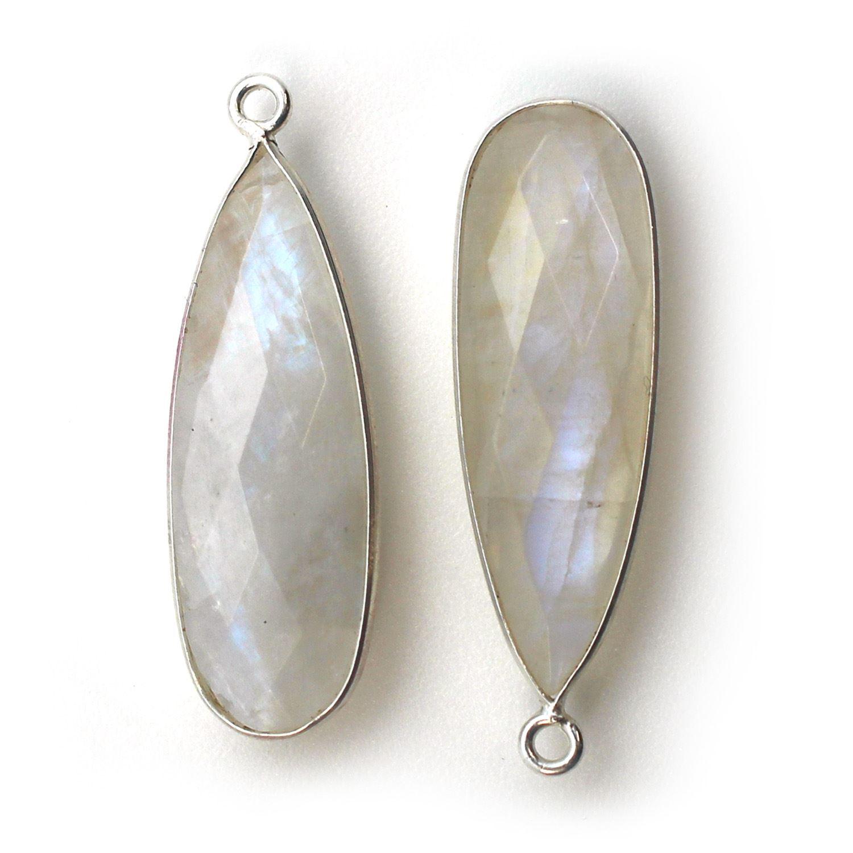Bezel Charm Pendant -Sterling Silver Charm-  -Rainbow Moonstone-Elongated Teardrop Shape -34 by 11mm (sold per 2 pieces)