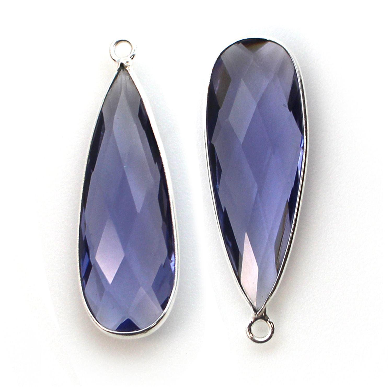Bezel Charm Pendant -Sterling Silver Charm- Iolite Quartz-Elongated Teardrop Shape -34 by 11mm  (sold per 2 pieces)