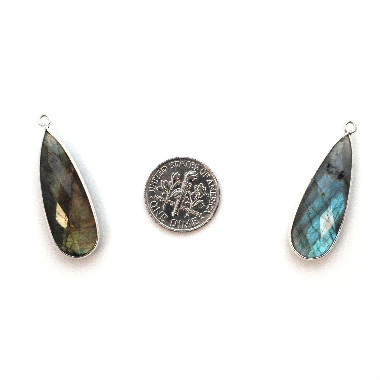 Bezel Charm Pendant -Sterling Silver Charm- Labradorite -Elongated Teardrop Shape -34 by 11mm (sold per 2 pieces)
