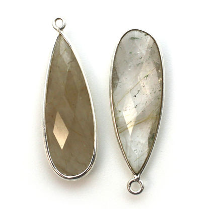 Bezel Charm Pendant -Sterling Silver Charm-Gold Rutilated -Elongated Teardrop Shape -34 by 11mm (sold per 2 pieces)