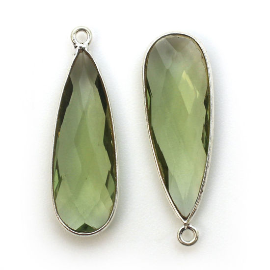 Bezel Charm Pendant -Sterling Silver Charm-Green Amethyst Quartz-Elongated Teardrop Shape -34 by 11mm (sold per 2 pieces)