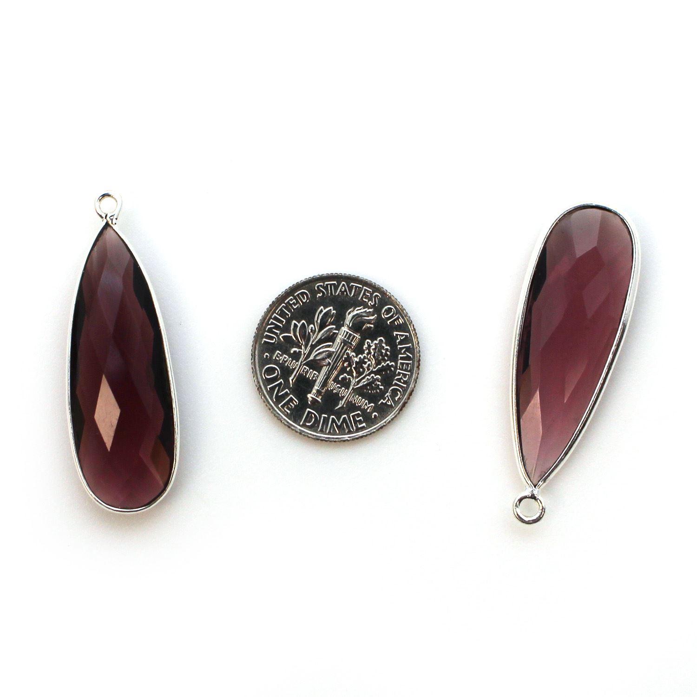 Bezel Charm Pendant -Sterling Silver Charm-Pink Amethyst-Elongated Teardrop Shape -34 by 11mm (sold per 2 pieces)
