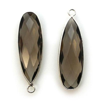 Bezel Charm Pendant -Sterling Silver Charm-Smokey Quartz-Elongated  Teardrop Shape -34 by 11mm  (sold per 2 pieces)