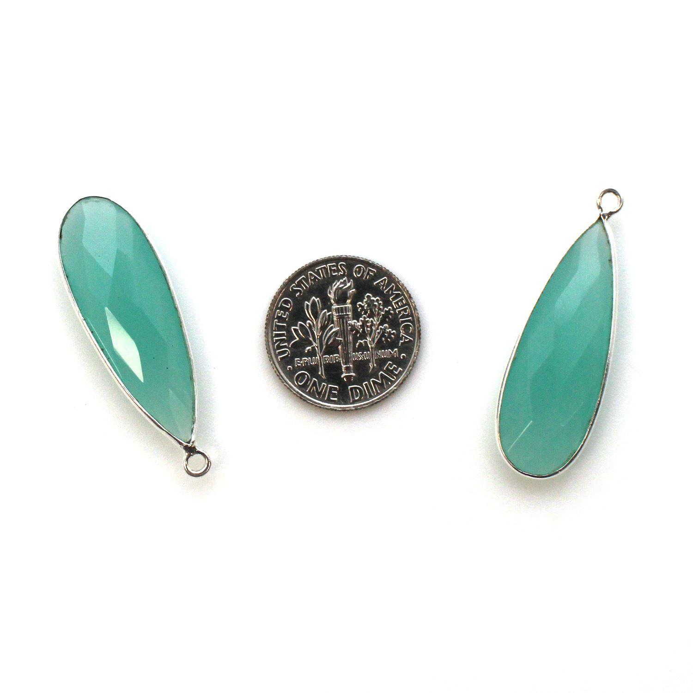 Bezel Charm Pendant -Sterling Silver Charm-Peru Chalcedony-Elongated Teardrop Shape -34 by 11mm - (sold per 2 pieces)