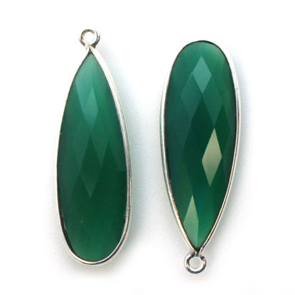 Bezel Charm Pendant -Sterling Silver Charm- Green Onyx-Elongated Teardrop - 34 by 11mm (sold per 2 pieces)