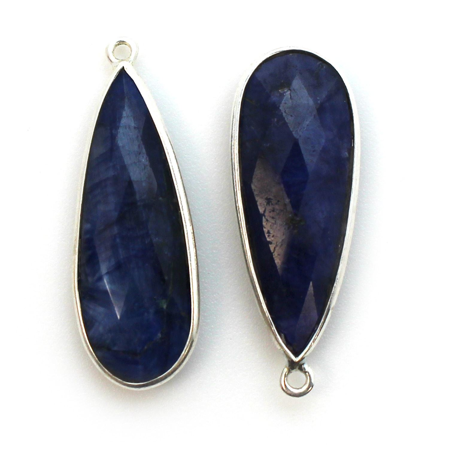 Bezel Charm Pendant - 925 Sterling Silver Charm - Elongated Teardrop Shape- Blue Sapphire Dyed - September BIrthstone - 34mm by 11mm  (sold per 2 pieces)