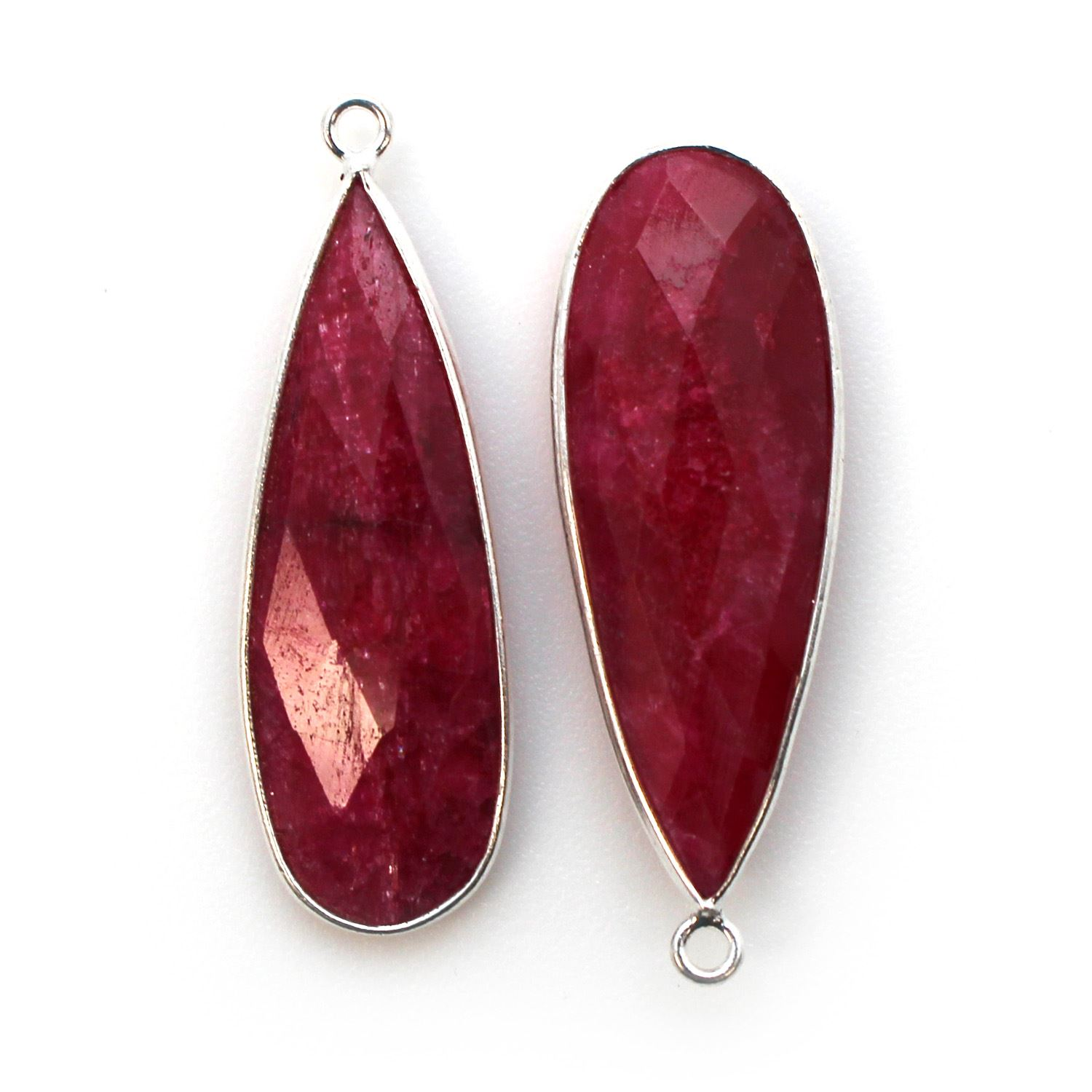 Bezel Charm Pendant - 925 Sterling Silver Charm - Elongated Teardrop Shape-Ruby Dyed - July Birthstone - 34mm by 11mm (sold per 2 pieces)