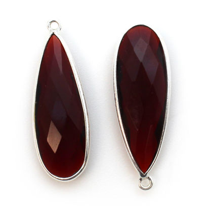 Bezel Charm Pendant - 925 Sterling Silver Charm - Elongated Teardrop Shape- Garnet Quartz- January Birthstone - 34mm by 11mm  (sold per 2 pieces)