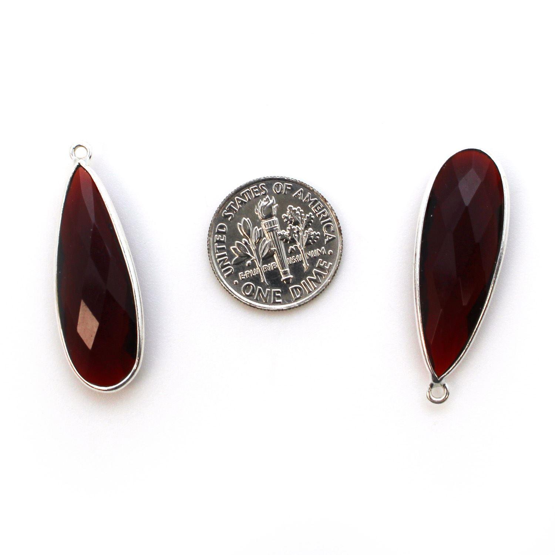 Bezel Charm Pendant - 925 Sterling Silver Charm - Elongated Teardrop Shape- Garnet Quartz- January Birthstone - 34mm by 11mm  (sold per 2 pieces)