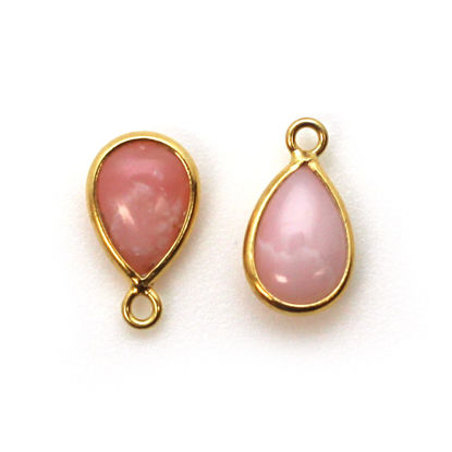Bezel Charm Pendant - Gold Plated Sterling Silver Charm - Pink Opal - Tiny Teardrop Shape