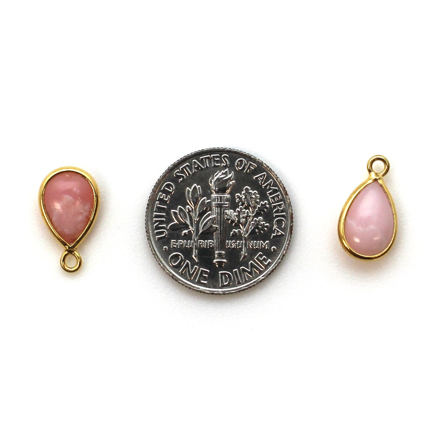 Bezel Charm Pendant - Gold Plated Sterling Silver Charm - Pink Opal - Tiny Teardrop Shape