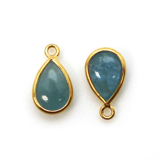 Bezel Charm Pendant - Gold Plated Sterling Silver Charm - Aquamarine - Tiny Teardrop Shape