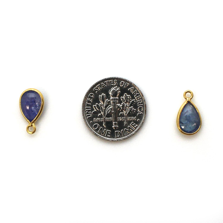 Bezel Charm Pendant - Gold Plated Sterling Silver Charm - Tanzanite - Tiny Teardrop Shape