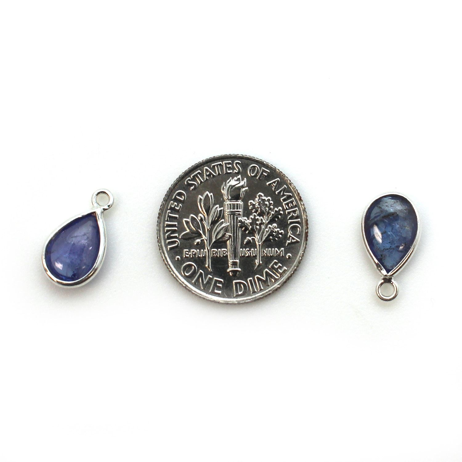 Bezel Charm Pendant - Sterling Silver Charm - Natural Tanzanite - Tiny Teardrop Shape
