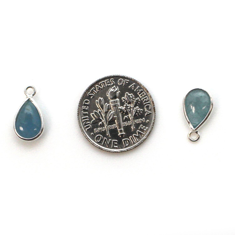 Bezel Charm Pendant - Sterling Silver Charm - Natural Aquamarine - Tiny Teardrop Shape