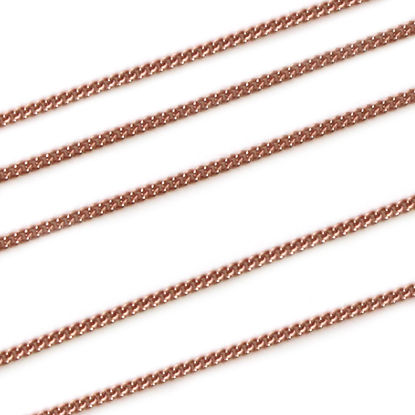 Rose Gold Plated Sterling Silver 1mm Tiny Curb Chain. Bulk Unfinished Chain for Jewelry Making. Sold By the Foot