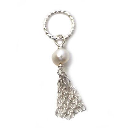 Tiny Tassel - 925 Sterling Silver Tassel Pearl Charm Pendant - 30mm