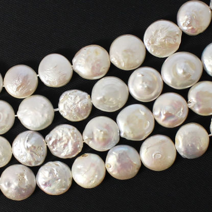 Freshwater coin pearls - 10-12mm -creamy color (sold per strand)