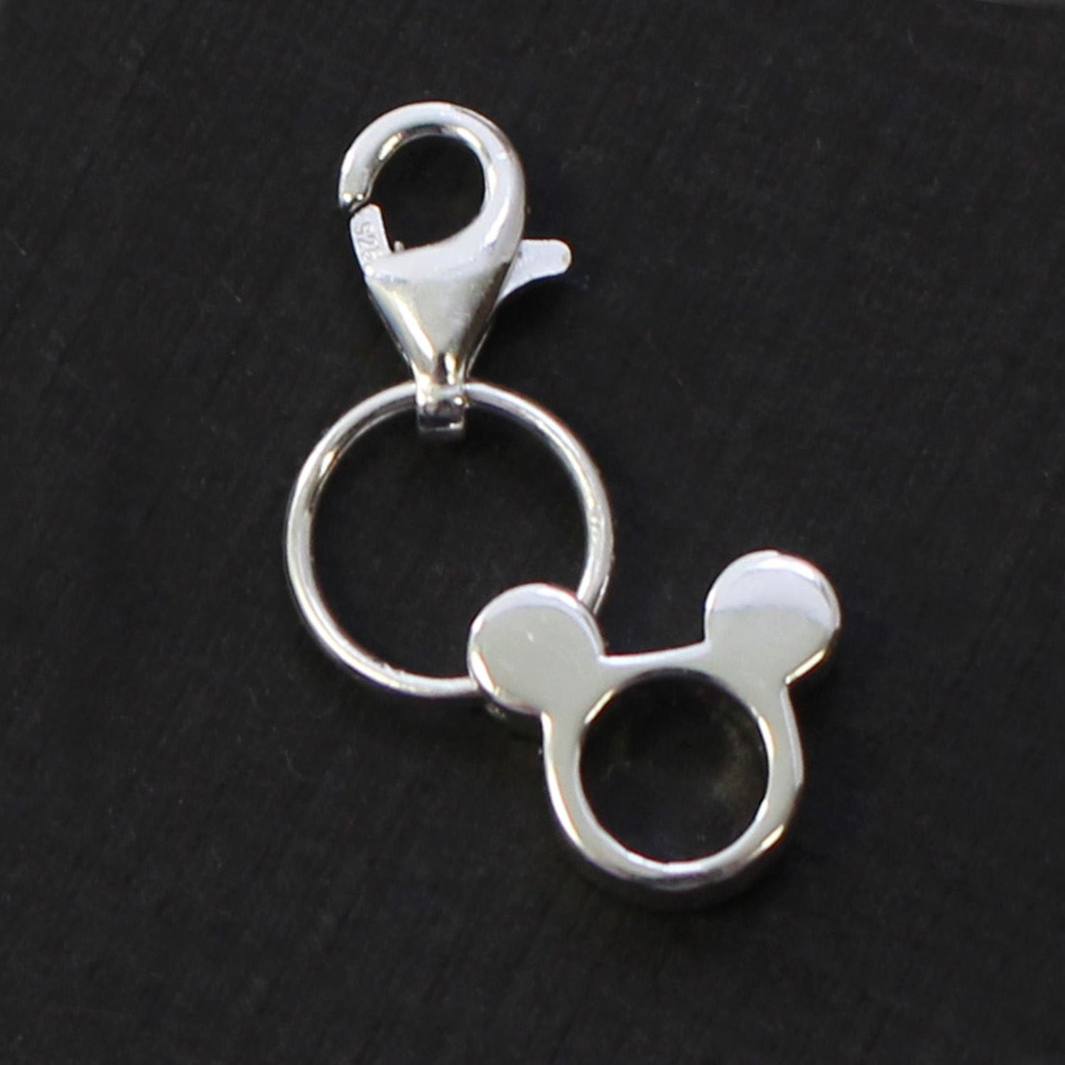 Sterling Silver Mouse Charm- Charm with Clasp - Charm Bracelet Charm- Add on Charm