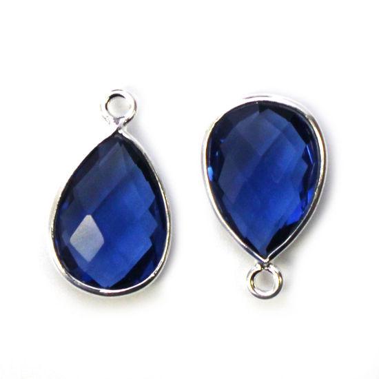 Bezel Gemstone Pendant -Sterling Silver Gem- 10x14mm Faceted Small Teardop Shape - Blue Iolite Quartz  (sold per 2 pieces)