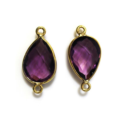 Bezel Gemstone Links - 10x14mm Faceted Pear - Amethyst Quartz (Sold per 2 pieces)