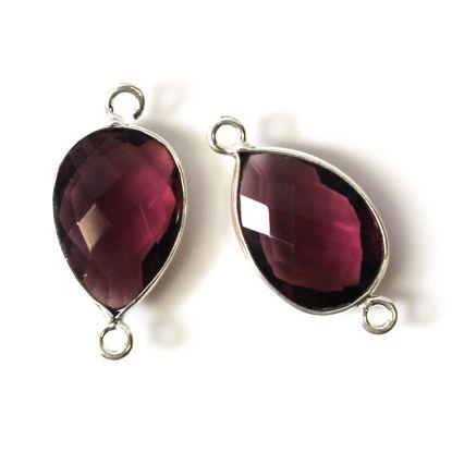 Bezel Gemstone Links - Sterling Silver - Faceted Pear Shape - Pink Amethyst Quartz (Sold per 2 pieces)