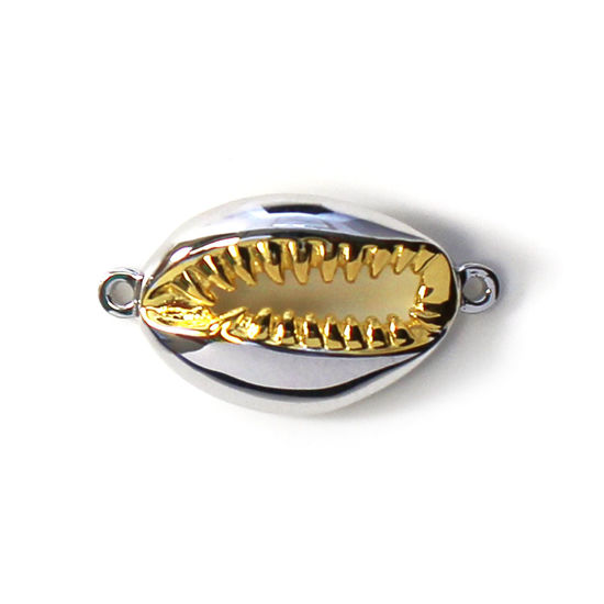 Sterling Silver Two Tone Big Cowrie Shell Connector Pendant (1 pc)