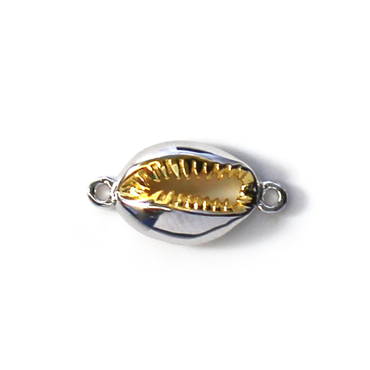 Sterling Silver Two Tone Small Cowrie Shell Connector Pendant (1 pc)