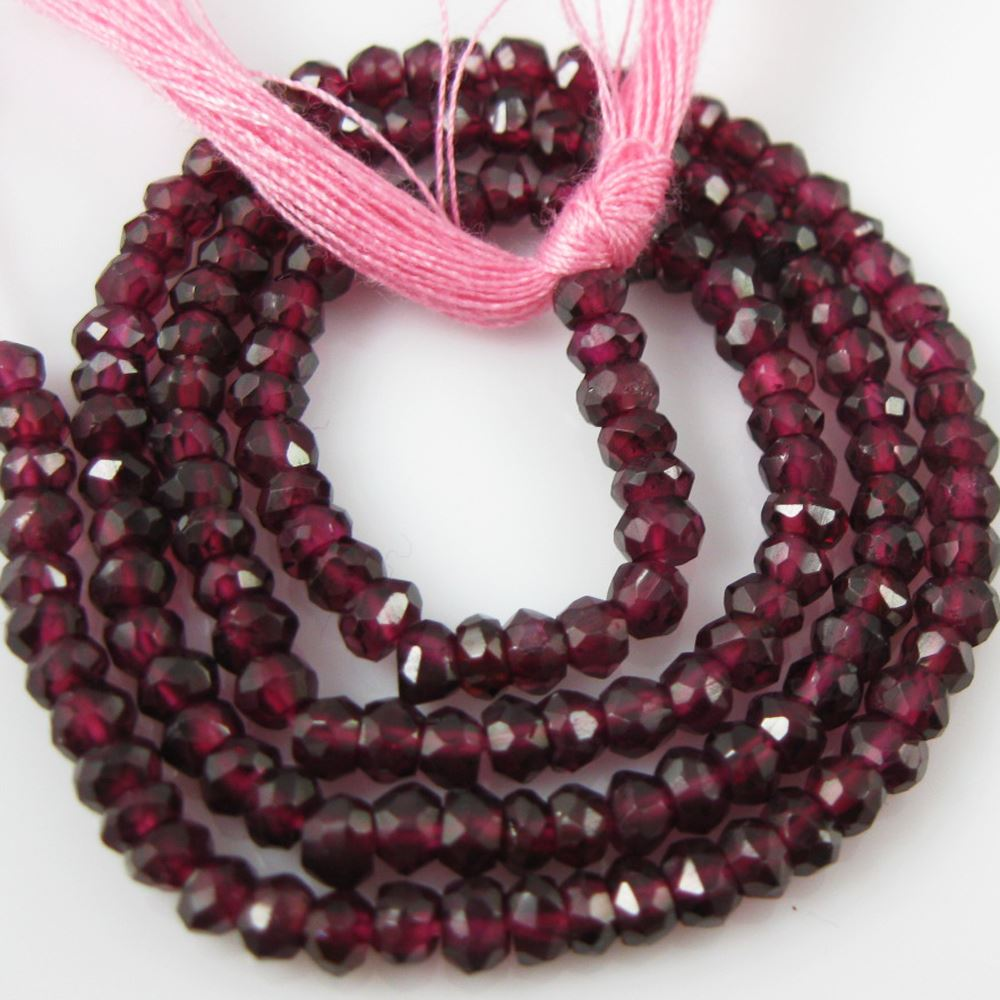 Gemstone beads - Garnet Micro Faceted Rondelle - January Birthstone- 3- 3.5mm - 13.5 inches full strand