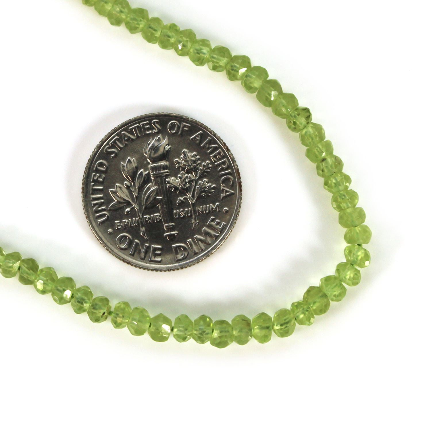 Peridot -Semi Precious Stone, Faceted Rondelle Beads - full strand - 3.2mm- 14 inches