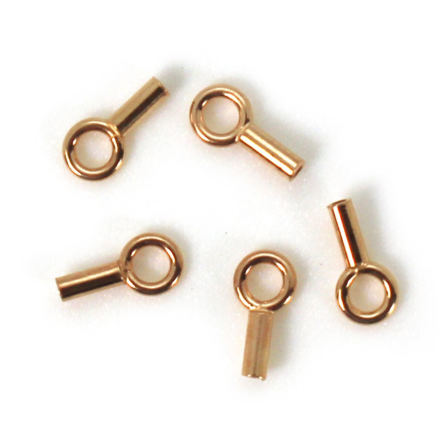 Rose Gold plated Sterling Silver Plain Tube End, 8mm (sold per 10 pcs)