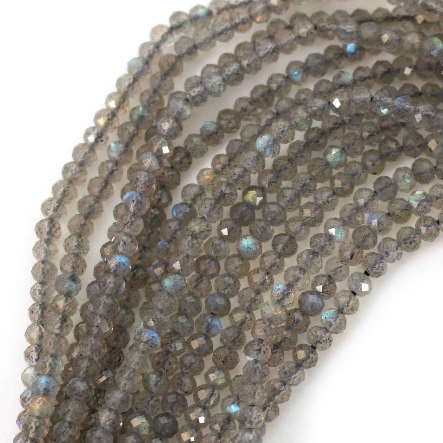 Gemstone beads - Labradorite Faceted Rondelle - 2.5- 3mm - 14 inches full strand