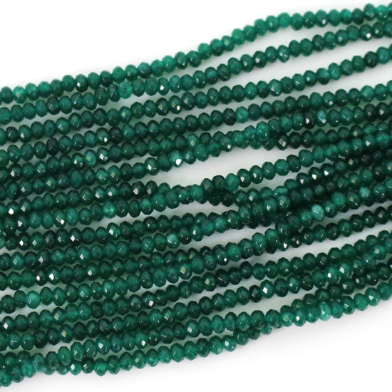 Gemstone beads - Geen Onyx Faceted Rondelle - - 3.5- 4mm - 14 inches full strand