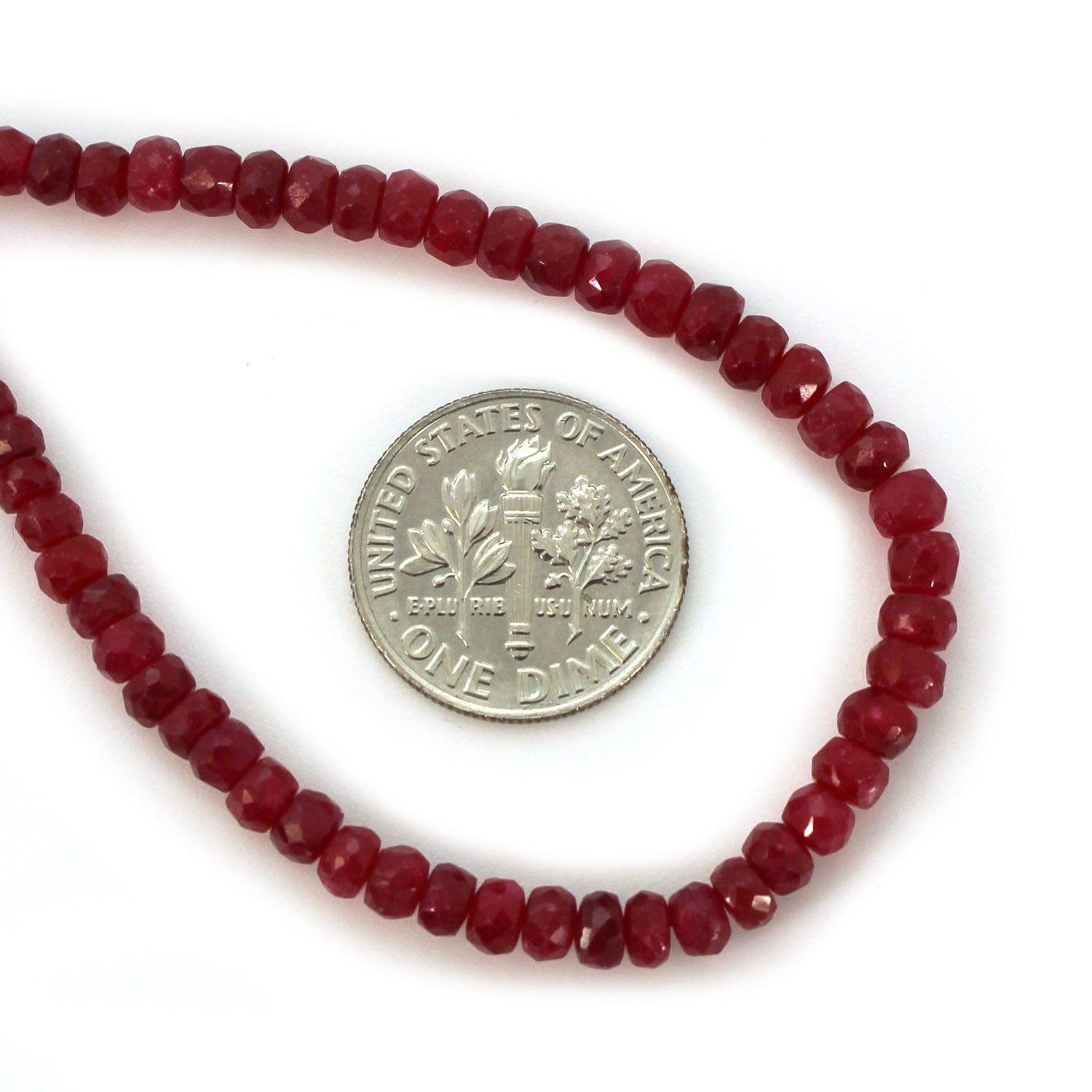 Gemstone beads - Ruby Faceted Rondelle - 3.5-4mm - 14 inches full strand