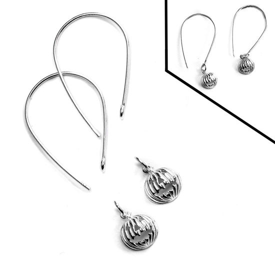 Sterling Silver Jack-O-Lantern Teardrop Earring DIY Kit