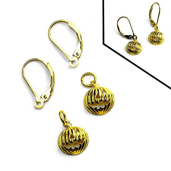 Gold Over Sterling Silver Jack-O-lanter Leverback Earring DIY Kit